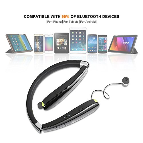 Foldable Bluetooth Headset,Besyoyo Wireless Bluetooth 4.1 Headphones with Retractable Earbuds,Handsfree Calling Bluetooth Sweat proof Sport Headphones Built in Mic for Bluetooth Enabled Devices - Image 5