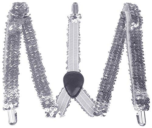 Enimay Great Quality Unisex Suspenders Chrome Sequins -