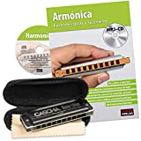 CASCHA Harmonica Learning Set Including Harmonica in C Major, Diatonic Spanish Beginners School, Case and Cleaning Cloth, Ideal for Beginners and Adults