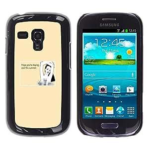 QCASE / Samsung Galaxy S3 MINI NOT REGULAR! I8190 I8190N / quote verano mujer sexy bikini de dibujo playa / Delgado Negro Plástico caso cubierta Shell Armor Funda Case Cover