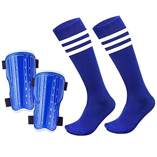 chenyee Shin Guards for Kids 1 Pair Cotton Football Socks Soccer Guards for Kids Protective Gear Youth Football Guard Board Equipment Fit 5-10 Years Old Boys Girls (Blue)