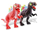 Mozlly Spinosaurus Dino with Light & Sound, T-Rex Moving Roaring Dinosaur Electronic Robotic Action Figure Battery Operated Toy, Learning Multiplayer Discovery Creature Model, Black & Red (2 Item)