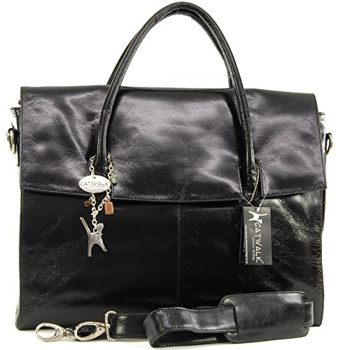Catwalk Collection Laptop Bag Vintage Over Leather Sized Black Helena RPwqHRxrd