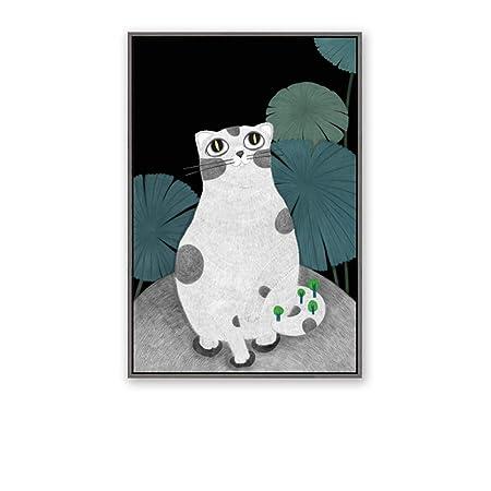 zxddzl Animal Gato niño y niña Gato Cartel decoración de la ...