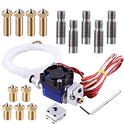EAONE All-Metal J-Head V6 Hotend Kit with 5 Pcs Extruder Print Head + 5 Pcs Nozzle Throat + 4 Pcs Volcano Extruder Nozzles + 1 Pc Volcano Heating block for E3D V6 Makerbot RepRap 3D Printers