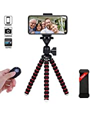 Phone Tripod, Portable and Flexible Camera Stand Holder with Wireless Remote and Universal Clip for Smart, Android Phone, Camera, Sports Camera GoPro