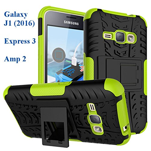 Galaxy Express 3 Case, Asstar Tough Rugged Dual Layer Plastic Impact Defender Case Cover with Kickstand for Samsung Galaxy J1 (2016) / Samsung Galaxy Amp 2 / Express 3 (Green)