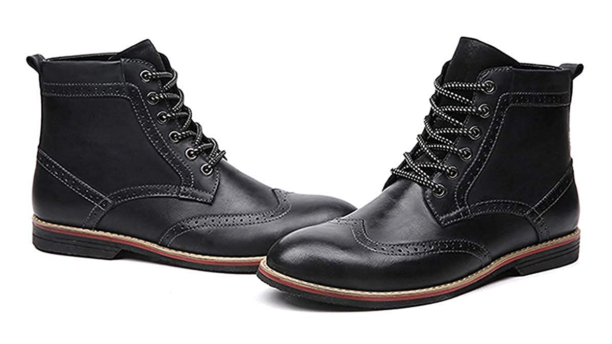 Mens Casual Leather Combat Boots Ankle Classic Wingtip High Tops Waterproof Lace Up Work Martin Oxfords Boots
