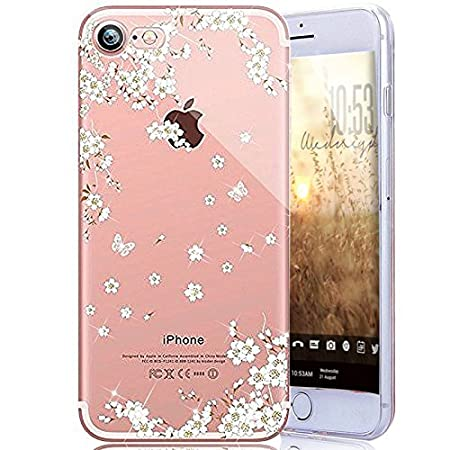 Custodia iPhone SE 5S 5 Cover,ikasus Mandala del fiore Bling Diamanti Glitter strass Trasparente Silicone Gel Cover Custodia Bumper Case Custodia Cover per iPhone SE 5S 5,uccelli fenicottero rosa