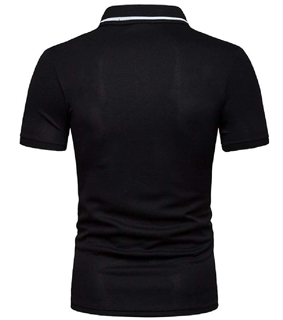 Mens Pique T-Shirt Short Sleeve Color Stitching Hipster Mesh Polo Shirt