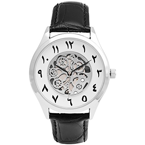 Arabic Numerals Index Watches, Unisex Arabic Dial Face Skeleton Watch (Silver case)