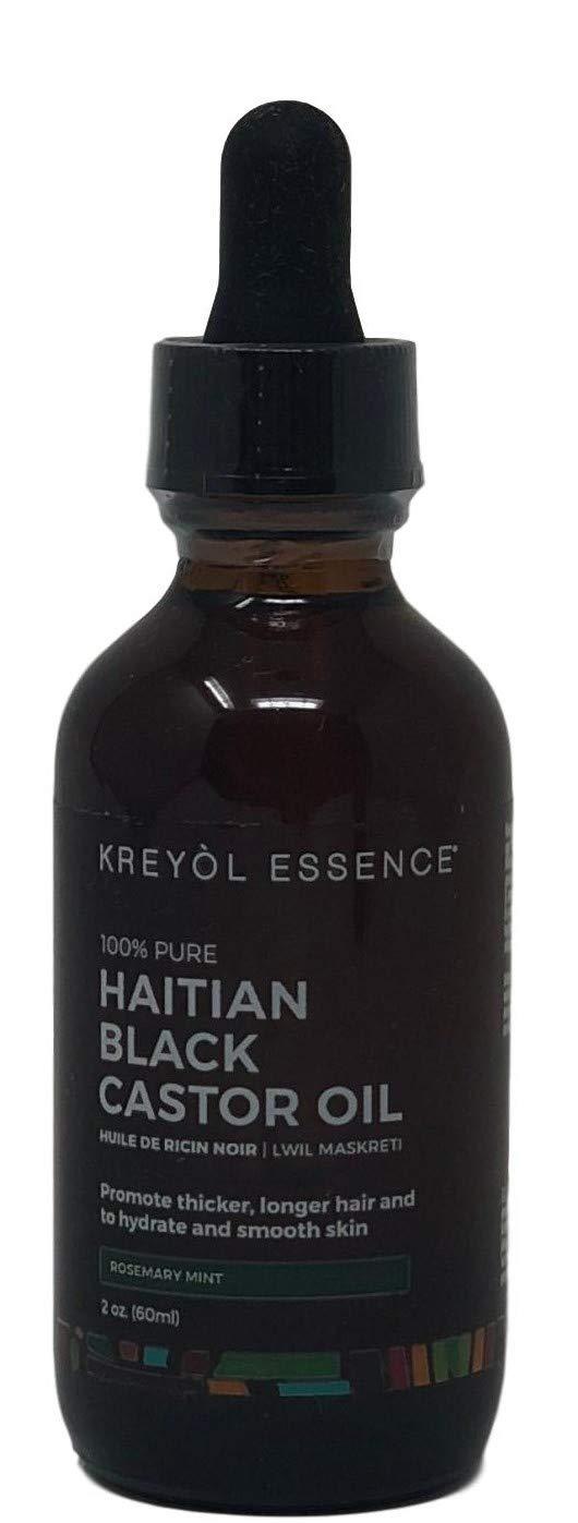 Haitian Black Castor Oil Kreyol Essence Kreyòl for Hair Growth Oil Thicker Longer Hair and Clear Skin As Seen On Shark Tank Rosemary Mint