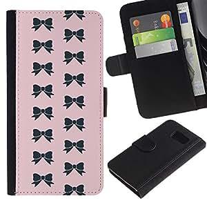 LASTONE PHONE CASE / Lujo Billetera de Cuero Caso del tirón Titular de la tarjeta Flip Carcasa Funda para Samsung Galaxy S6 SM-G920 / bow pink bowtie pattern black fashion