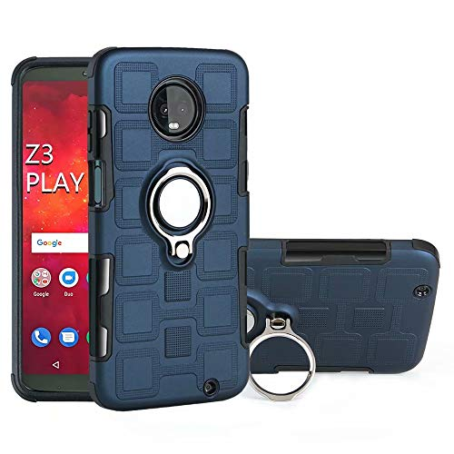 (Armor Series Dual Layer 2 in 1 Hard Case with Rotating Finger Ring Holder Kickstand Magnetic Car Mount Case for Motorola Moto Z3 Play (6.0 inch) Cellphone Case (Color :)