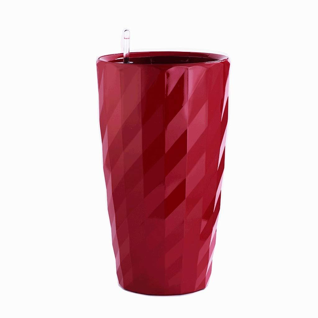 庭 シンプルなペイント模造セラミックプラスチック自動灌漑ポットモール/リビングルームの装飾ホワイトラウンドフラワーポット 植栽管理 (Color : Red, サイズ : L) B07RV7JPXY Red Large