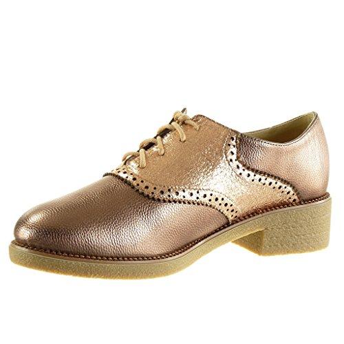 Zapatillas bimaterial 4 Tacón perforado Angkorly Zapato ancho granulado Moda Champán CM alto Talón mujer acento 4qnwWTBd