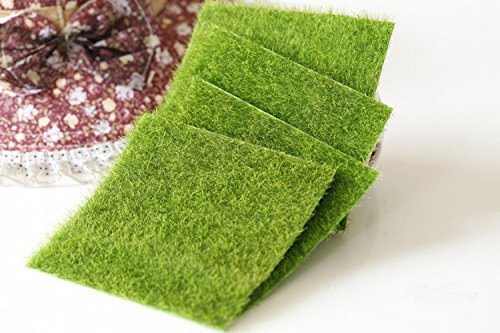 luckyBEAR Artificial Grass Mat Greengrocers Fake Turf Astro Lawn For Miniature Ornament Garden Dollhouse, 4 PCS (30cm30cm, Green)