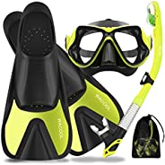 WACOOL Snorkeling Package Set for Adults, Anti-Fog Coated Glass Diving Mask, Snorkel with Silicon Mouth Piece,