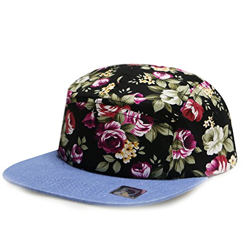 City Hunter Cn900 Rose Garden 5 Panel Hats - Black
