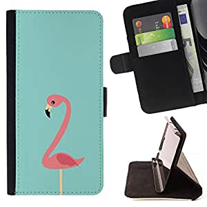 For Sony Xperia m55w Z3 Compact Mini Flamingo Teal Pink Bird Florida Miami Leather Foilo Wallet Cover Case with Magnetic Closure