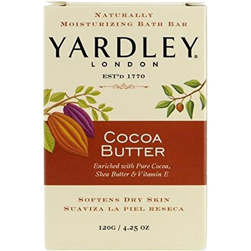 Yardley London Pure Cocoa Butter & Vitamin E Bar Soap, 4.25 Ounces /120 G (Pack of 4)