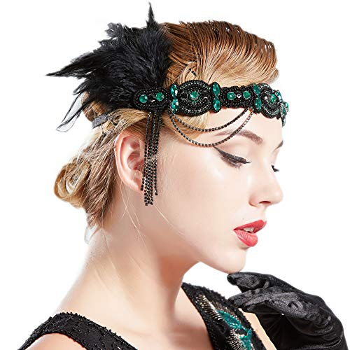 (BABEYOND 1920s Flapper Headband Roaring 20s Gatsby Headpiece Black Feather Headband 1920s Flapper Hair Accessories (Dark Green))