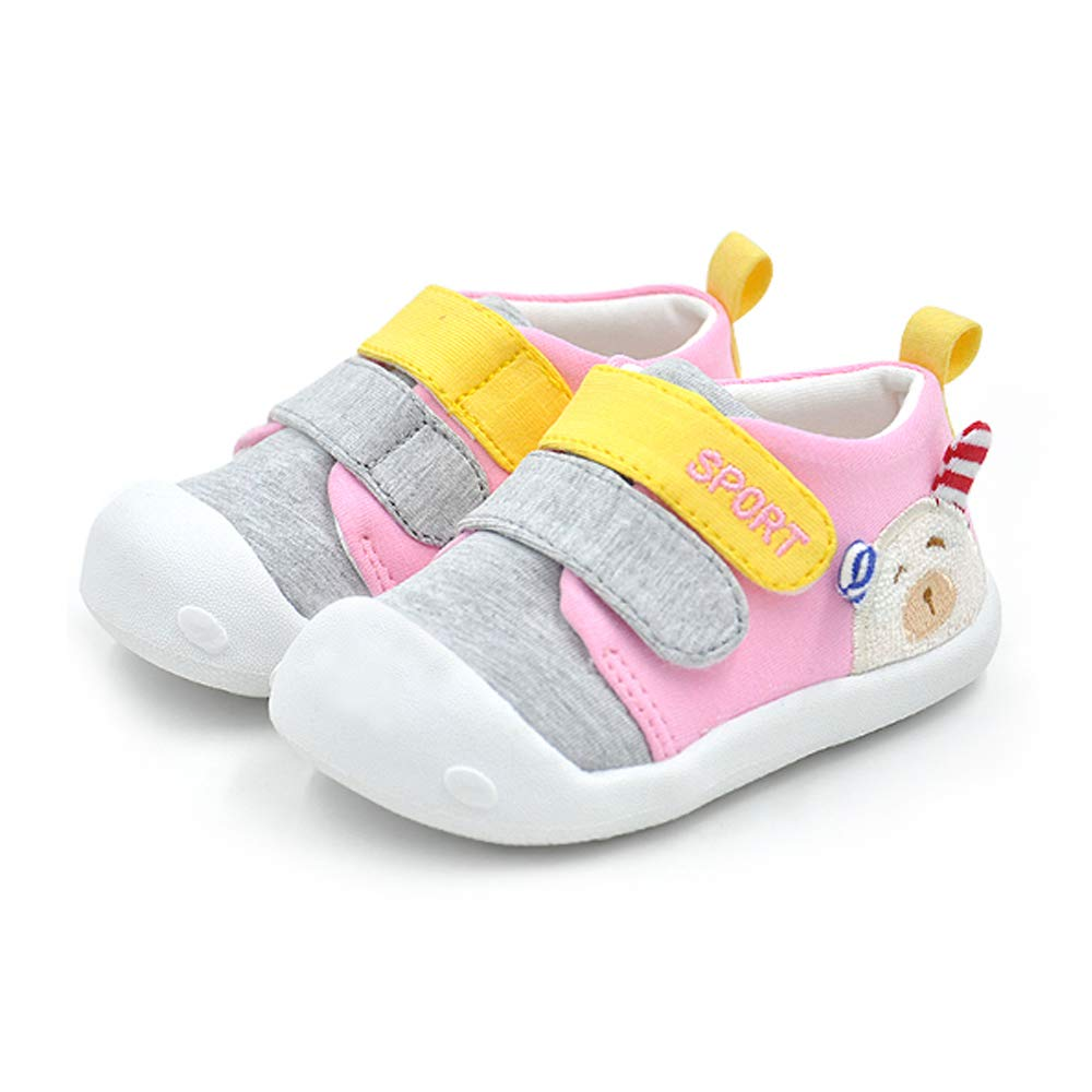 QGAKAGO Baby Girls or Boys Cotton Breathable Rubber Sole Anti-Slip Sneakers First Walkers Shoes