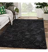Zareas Modern Soft Shaggy Area Rugs for Living Room 4'x5.9' Black Fluffy Rug for Bedroom Furry Fu...