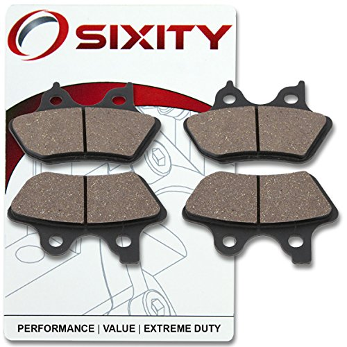 Sixity Front + Rear Ceramic Brake Pads 2004-2005 Harley Davidson FXDLI Dyna Low Rider Set Full Kit Complete 2004 Dyna Lowrider