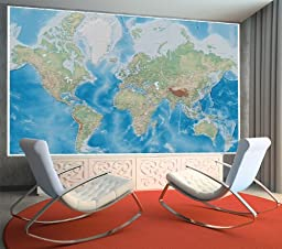 Poster World map - wall picture decoration miller projection in plastically relief design earth atlas globe   Wallposter wall decor by GREAT ART (55 Inch x 39.4 Inch /140 cm x 100 cm)