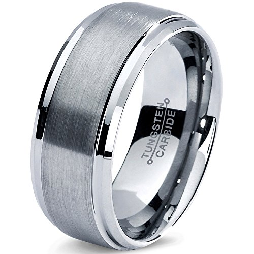 d Ring 8mm 6mm for Men Women Comfort Fit Beveled Edge Cut Polished FREE Custom Laser Engraving Lifetime Guarantee ()