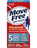 Move Free Joint Health Advanced Plus MSM & Vitamin D3 with Glucosamine + Chondroitin and Hyaluronic Acid Joint Supplement-Plus Extra Bone Support, 80 tablets