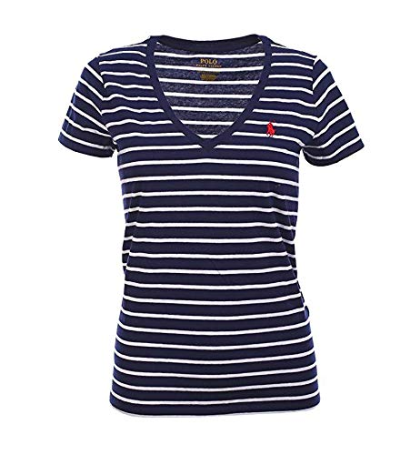 Heart Logo Tee - Polo Ralph Lauren Womens Pony Logo V-Neck Tee (X-Small, Navy White Stripes/Heart Red)