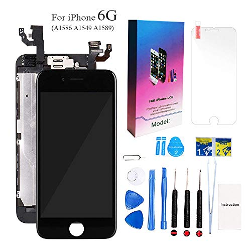 for iPhone 6 Screen Replacement Kit Black 4.7 LCD Display for iPhone 6 6G Replacement Touch Screen Digitizer Full Assembly + Front Camera + Earpiece + Repair Tools + Free Screen Protector (Black)