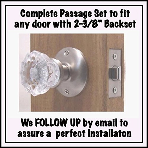 Backplate Privacy Door Knob (A very affordable Do-It-Yourself 12 point Fluted Crystal Glass Door Knob Sets for Modern Doors. Our Original Wood Adapters to install in modern pre-drilled doors(2-3/8 Residential Passage))