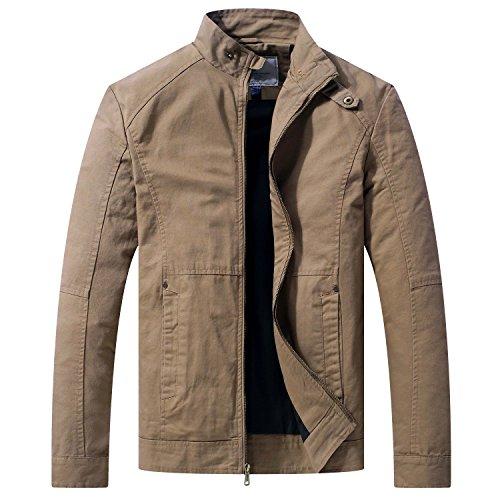 WenVen Men's Spring Casual Full Zip Military Jacket ()