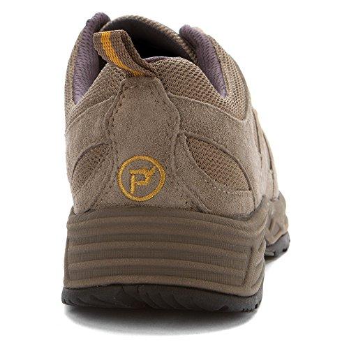 Propét Womens Miranda Suede, Mesh, EVA, Rubber Walking Sneakers Gunsmoke/Gold
