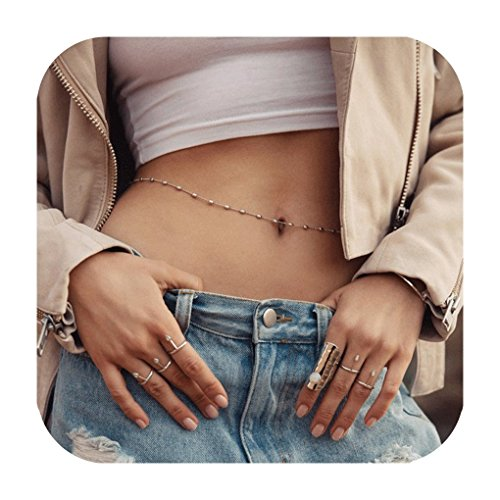 Defiro Minimalist Waist Chain Beach Bikini Belly Chain With Bead Long Chain Women - Waist Beads