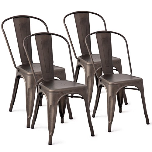 KCHEX>>Set of 4 Tolix Style Dining Side Chair Stackable Bistro Cafe Chic Metal Copper>>Simple and Practical, You can Apply it into Anywhere You can Imagine, Such as Bistro, Living Room etc. from KCHEX