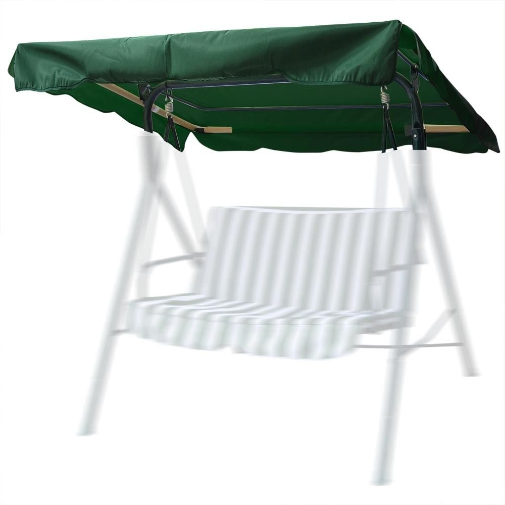 Flexzion Swing Canopy Cover Green 77''x43'' Deluxe Polyester Top Replacement UV Block Sun Shade Waterproof Decor for Outdoor Garden Patio Yard Park Porch Seat Furniture