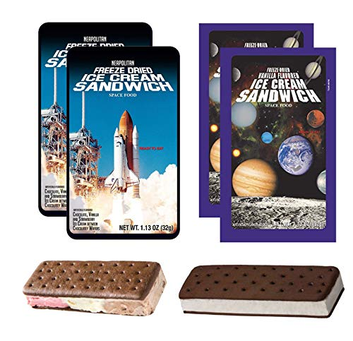 LuvyDuvy Freeze Dried Ice Cream Astronaut Food Bundle (2) of Neapolitan Sandwich (Strawberry-Vanilla-Chocolate) and (2) of Vanilla Sandwiches 4 Total