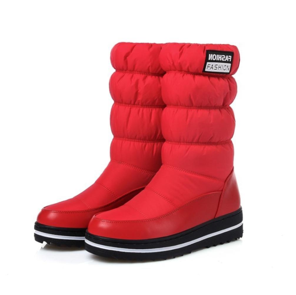 NVXUEZIX Frauen Winter Warme Schuhe PU Unten Baumwolle Plateauschuhe Snow Slouch Stiefel Runde-Toe Casual Style Schwarz 37