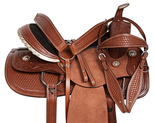 "15"" 16"" 17"" 18"" RODEO COWBOY ROUGH OUT PREMIUM LEATHER WESTERN PLEASURE TRAIL COMFY RANCH WORK HORSE SADDLE TACK PACKAGE (16)"