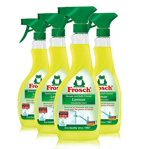 Frosch Natural Lemon Multi Surface Shower and Bathroom Spray Cleaner, 16.9 fl oz (Pack of 4)