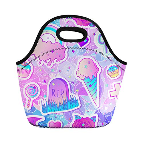 Semtomn Neoprene Lunch Tote Bag Colorful Candies Sweets Rainbow Ice Cream Tombstone Cross Lollipop Reusable Cooler Bags Insulated Thermal Picnic Handbag for Travel,School,Outdoors,Work ()