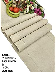 Linen Clubs   Flax Cotton Linen Looks Table Runner   Size 16x90 Natural    Hand Crafted