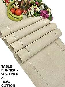 Clubes de lino, lino (lino y algodón con camino de mesa–Natural–hecho a mano y cosida a mano con camino de mesa con vainica, detalles