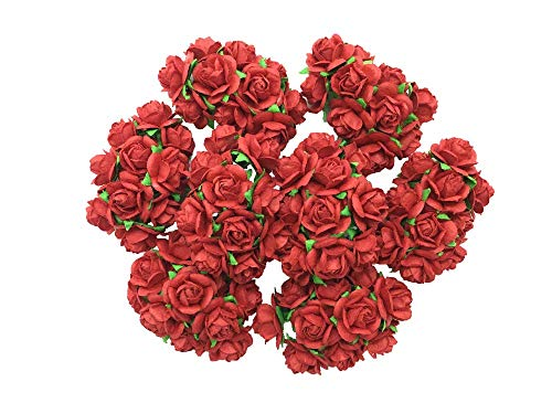 (100 pcs Mini Red Rose Color Mulberry Paper Flower 10 mm Scrapbooking Wedding Doll House Supplies Card Mini Paper Flowers)