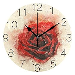 AGONA Abstract Watercolor Red Rose Floral Wall Clock Art Desk Clock Decorative Wall Clocks Battery Operated Non Ticking Silent Clock for Living Room Kids Room Kitchen Office