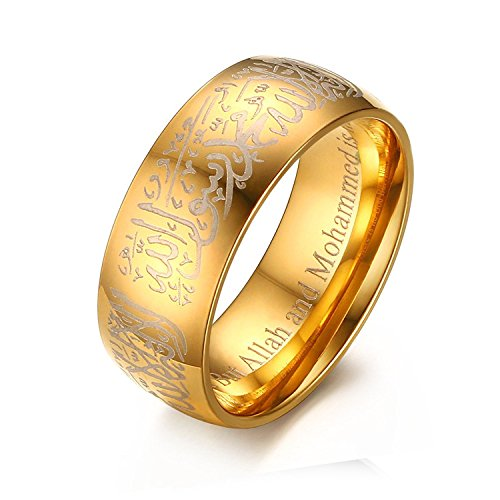 Chryssa Youree Men Women's 8MM Black & Gold Plated Stainless Steel Ring Muslim Jewelery Band with Shahada 7 to 12 (SZZ-024) (Size 7, gold)